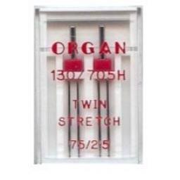 ORGAN Sewing Machine Needles Twin Stretch 75/2.5