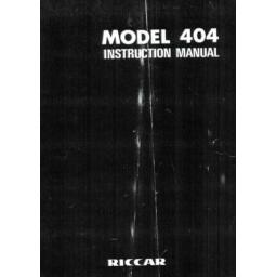 RICCAR 404 Instruction Manual (Printed)