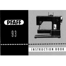 PFAFF Models Model 93 (can also be used with model 91) Instruction Manuals (Download)