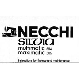 NECCHI Sylvia (Multimatic 584 & Maximatic 586) Instruction Manual (Printed)