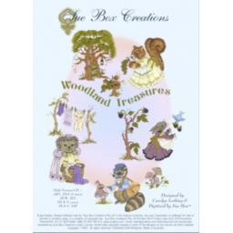 SUE BOX Woodland Treasures Embroidery Design Collection - Multi Format CD.