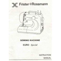 FRISTER + ROSSMANN Euro Special Instruction Manual (Printed)