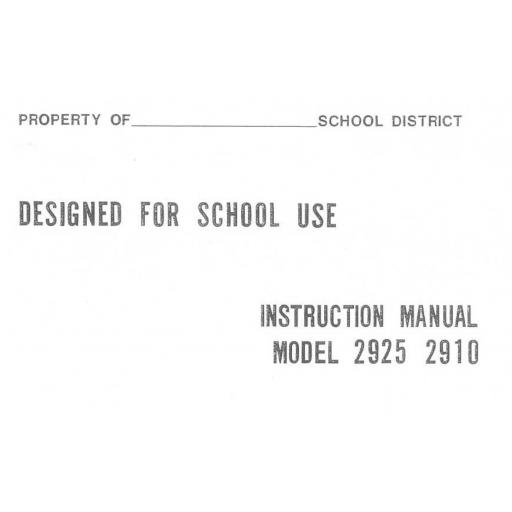 Riccar Model 2910 Instruction Manual (Printed)