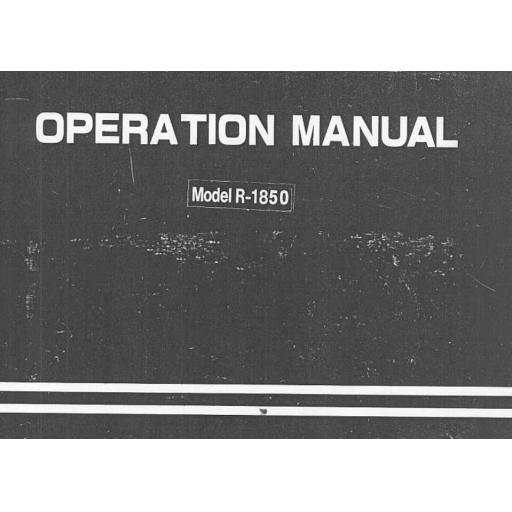 TOYOTA 1850 Instruction Manual (Printed)