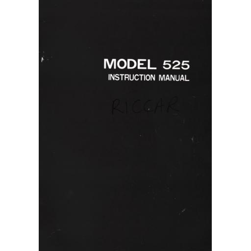 RICCAR Reliant 525 Instruction Manual (Printed)