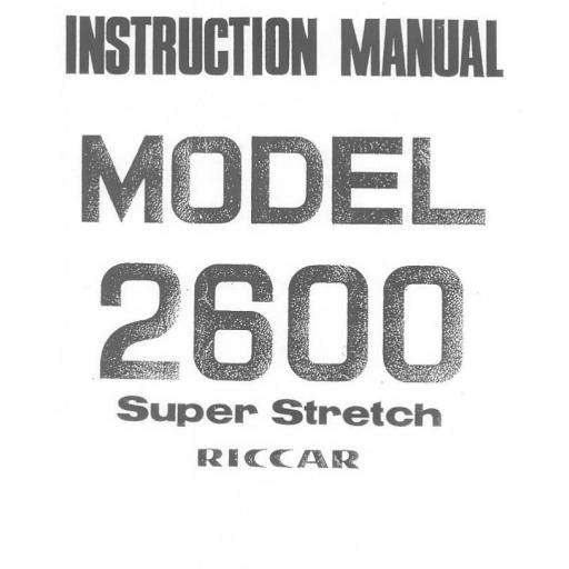 Riccar Model 2600 Instruction Manual (Printed)
