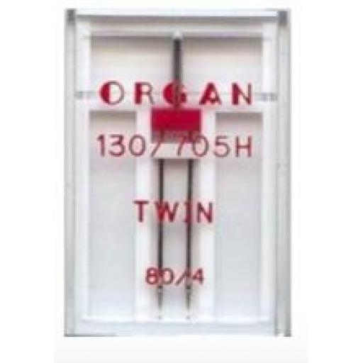 ORGAN Sewing Machine Needles Twin 80/4