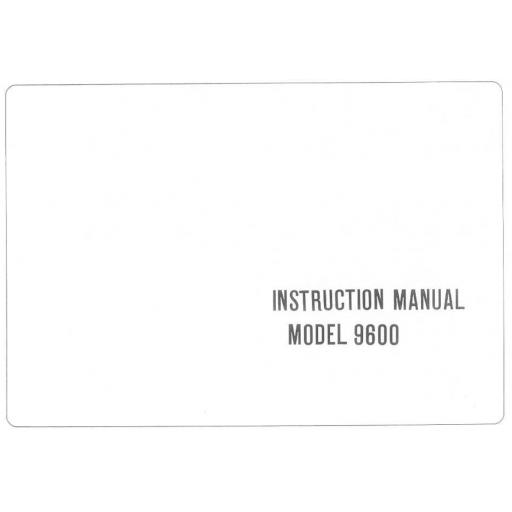 Riccar Model 9600 Instruction Manual (Printed)