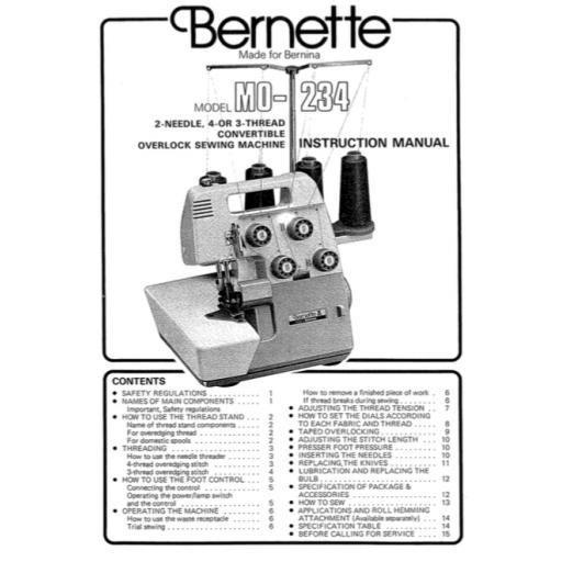 BERNETTE  by BERNINA MO 234 Overlocker Instruction Manual (Printed)