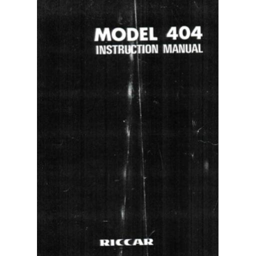 RICCAR 404 Instruction Manual (Printed)
