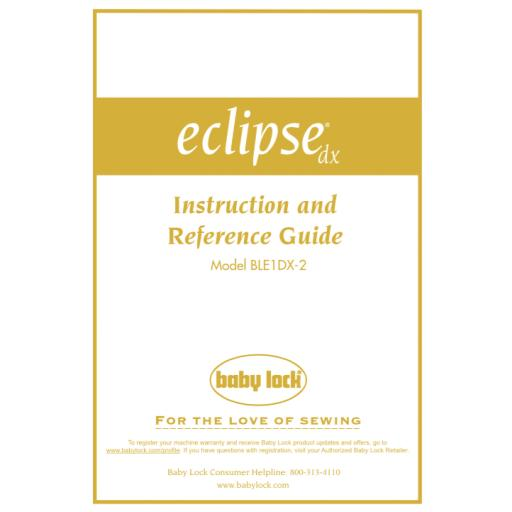 BABYLOCK Eclipse DX Instruction Manual (printed)