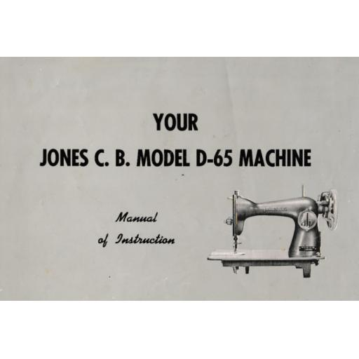 JONES Model D-65 Sewing Machine Instruction Manual (Printed)