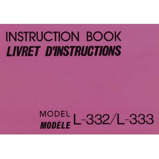 NEW HOME L-332 &333 Instruction Manual (Printed)