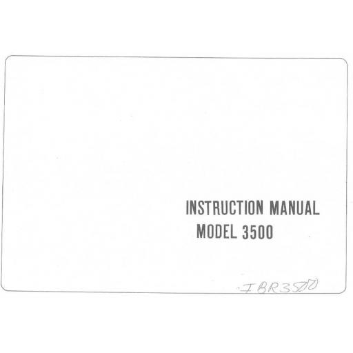 Riccar Model 3500 Instruction Manual (Printed)