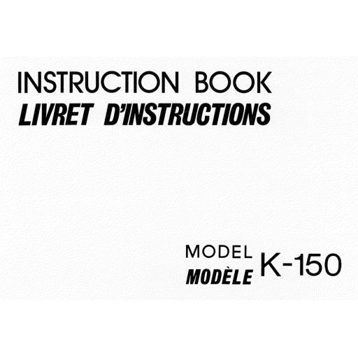 NEW HOME K-150  IInstruction Manual (Printed)