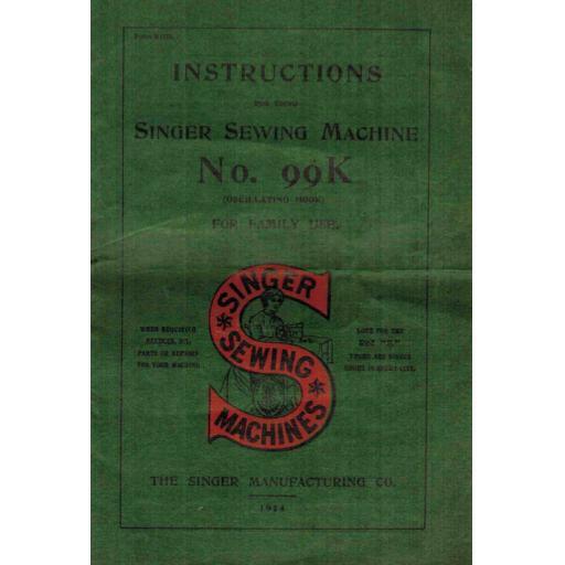Singer 99K Instruction Manual (printed copy)