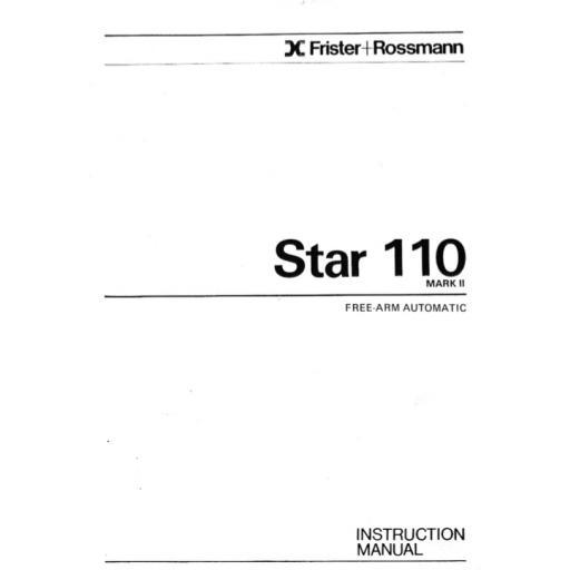 FRISTER + ROSSMANN Star 110 Mark II Instruction Manual (Download)