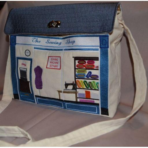 """THE SEWING SHOP"" Shoulder Bag Machine Embroidery Collection-SMALL SIZE for Brother/Babylock (Download)"